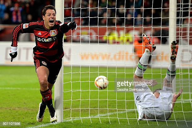 Goalkeeper Yann Sommer of Moenchengladbach is beaten by Chicharito of Leverkusen scoring his team's fifth goal during the Bundesliga match between...