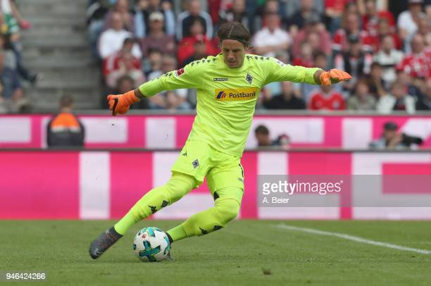 Goalkeeper Yann Sommer of Moenchengladbach kicks the ball during the Bundesliga match between FC Bayern Muenchen and Borussia Moenchengladbach at...