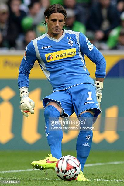 Goalkeeper Yann Sommer of Moenchengladbach plays the ball during the Bundesliga match between Borussia Moenchengladbach and VfB Stuttgart at...