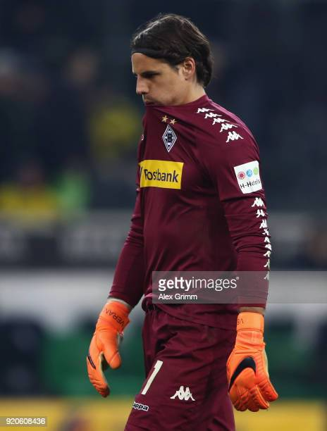 Goalkeeper Yann Sommer of Moenchengladbach reacts after the Bundesliga match between Borussia Moenchengladbach and Borussia Dortmund at BorussiaPark...