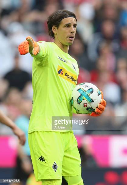 Goalkeeper Yann Sommer of Moenchengladbach reacts during the Bundesliga match between FC Bayern Muenchen and Borussia Moenchengladbach at Allianz...