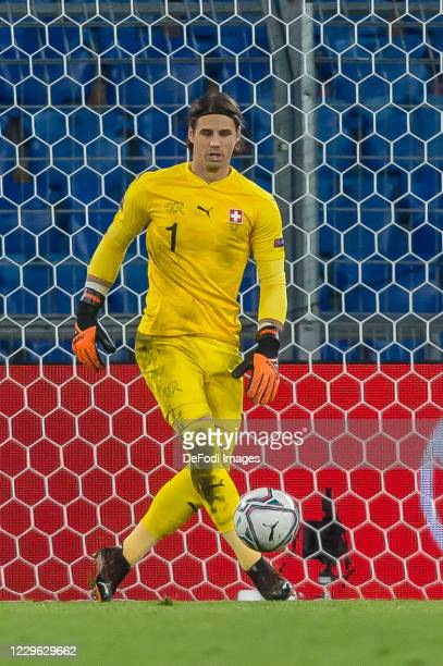 goalkeeper Yann Sommer of Switzerland controls the Ball during the UEFA Nations League group stage match between Switzerland and Spain at St...