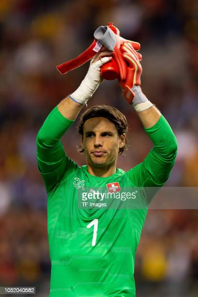 Goalkeeper Yann Sommer of Switzerland gestures after the UEFA Nations League A group two match between Belgium and Switzerland at Roi Baudouin...