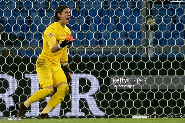 goalkeeper Yann Sommer of Switzerland gestures during the UEFA Nations League group stage match between Switzerland and Spain at St JakobPark on...