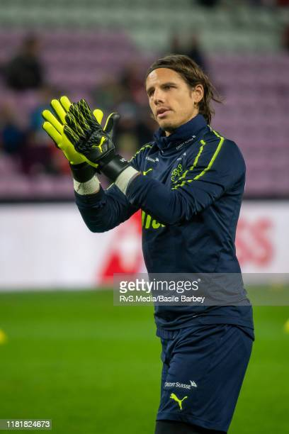 Goalkeeper Yann Sommer of Switzerland greets the fans during warm up prior to the UEFA Euro 2020 qualifier between Switzerland and Republic of...