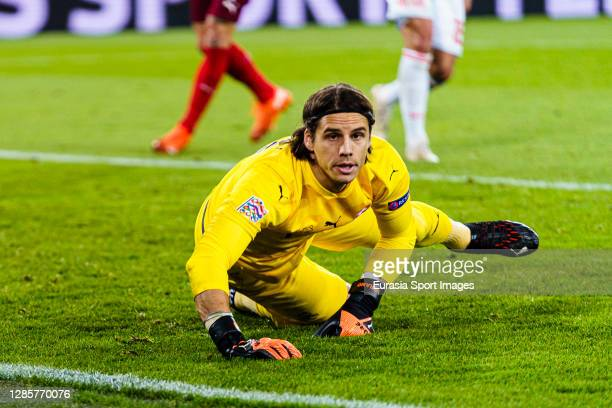 Goalkeeper Yann Sommer of Switzerland in action during the UEFA Nations League group stage match between Switzerland and Spain at St JakobPark on...