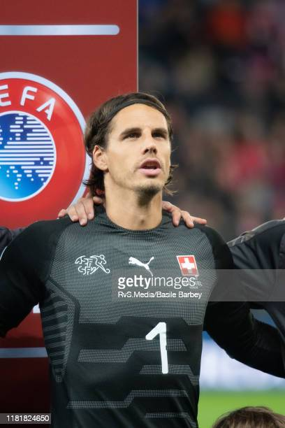 Goalkeeper Yann Sommer of Switzerland looks on during the Swiss national anthem prior to the UEFA Euro 2020 qualifier between Switzerland and...