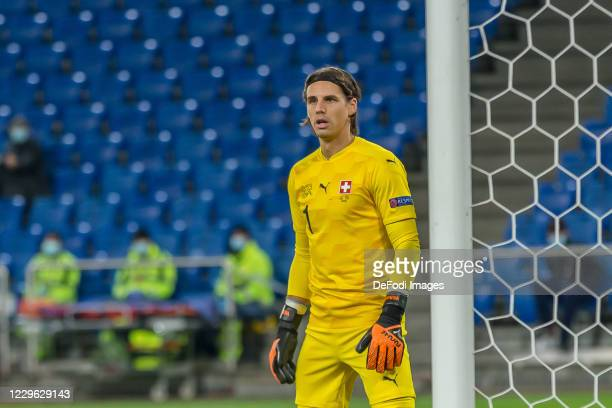 goalkeeper Yann Sommer of Switzerland Looks on during the UEFA Nations League group stage match between Switzerland and Spain at St JakobPark on...