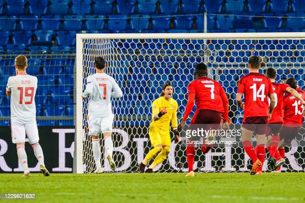Goalkeeper Yann Sommer of Switzerland reacts after defending a free kick from Sergio Ramos of Spain during the UEFA Nations League group stage match...