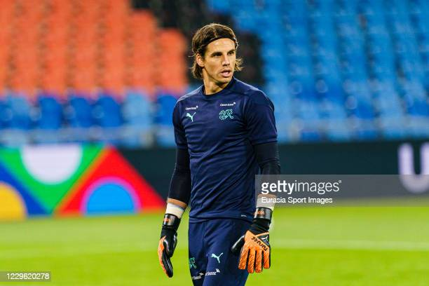 Goalkeeper Yann Sommer of Switzerland warming up during the UEFA Nations League group stage match between Switzerland and Spain at St JakobPark on...