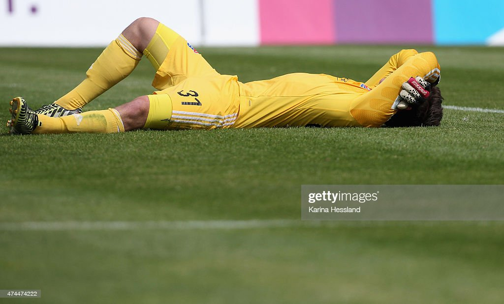 Goalkeeper Yannik Oettl of Unterhaching looks dejected after the Third League match between FC Rot Weiss Erfurt and SpVgg Unterhaching at Steigerwaldstadion on May 23, 2015 in Erfurt, Germany.