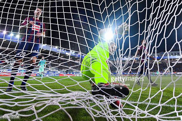 Goalkeeper Yoel of SD Eibar gets tangled in the goal net after making a save during the La Liga match between SD Eibar and FC Barcelona at Ipurua...