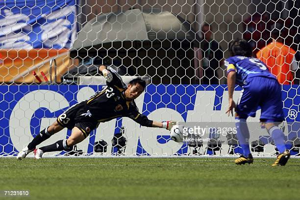 Goalkeeper Yoshikatsu Kawaguchi of Japan saves the penalty of Darijo Srna of Croatia during the FIFA World Cup Germany 2006 Group F match between...