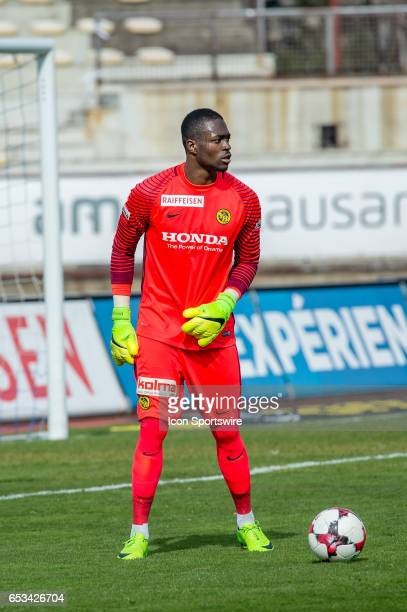 Goalkeeper Yvon Mvogo in action during the Swiss Super League match between FC LausanneSport and BSC Young Boys at Stade Olympique de la Pontaise in...