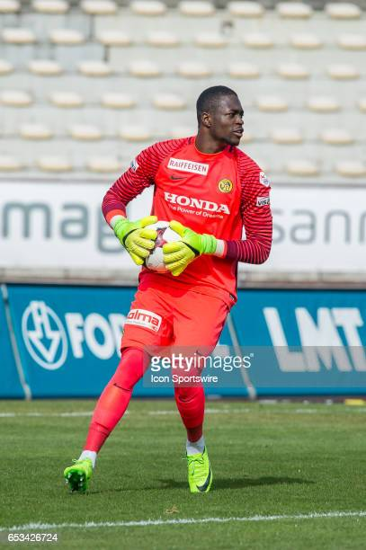 Goalkeeper Yvon Mvogo looks on during the Swiss Super League match between FC LausanneSport and BSC Young Boys at Stade Olympique de la Pontaise in...