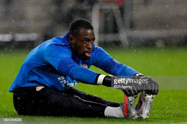 Goalkeeper Yvon Mvogo of PSV during the UEFA Europa League match between PSV and Olympiacos at PSV Stadion on February 25, 2021 in Eindhoven,...