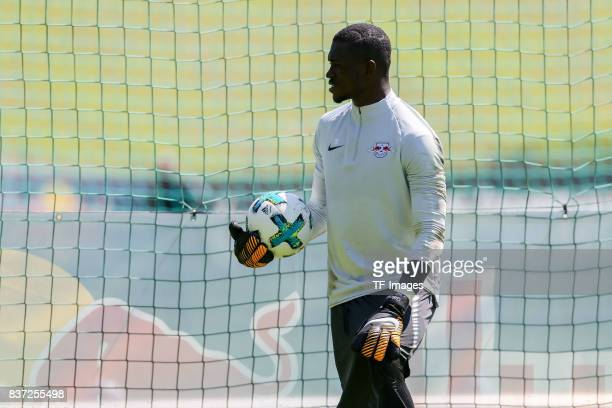 Goalkeeper Yvon Mvogo of RB Leipzig looks on during the Training Camp of RB Leipzig on July 21 2017 in Seefeld Austria