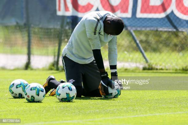 Goalkeeper Yvon Mvogo of RB Leipzig on the ground during the Training Camp of RB Leipzig on July 21 2017 in Seefeld Austria