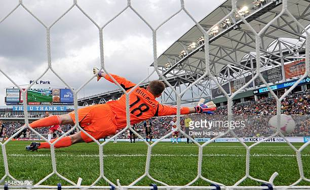 Goalkeeper Zac MacMath of the Philadelphia Union can't make a save on penalty kick in the first half against the New York Red Bulls at PPL Park on...