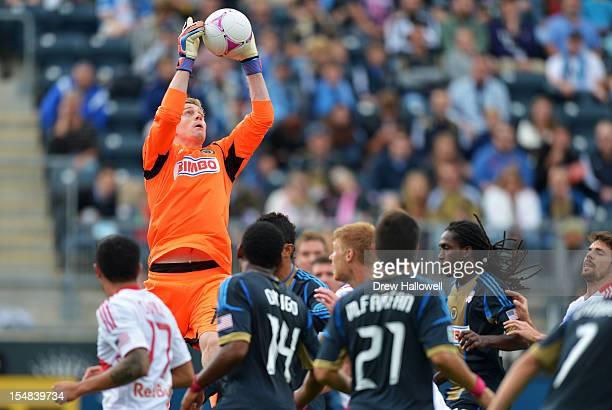 Goalkeeper Zac MacMath of the Philadelphia Union catches the ball during the game against the New York Red Bulls at PPL Park on October 27 2012 in...