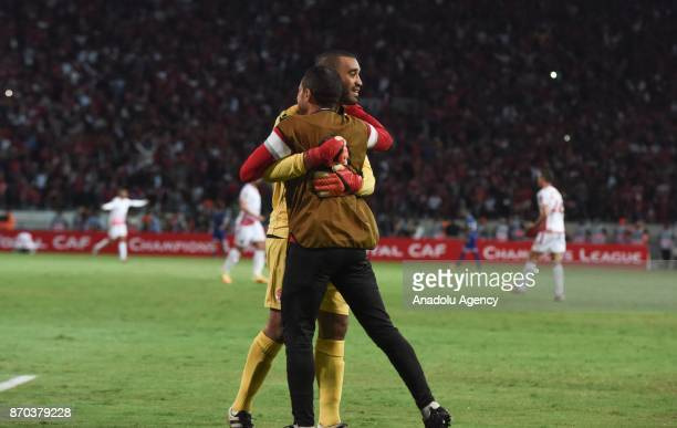 Goalkeeper Zouheir Laaroubi of Wydad Casablanca celebrates after winning 10 in the CAF African Champions League match against Al Ahly at the Stade...