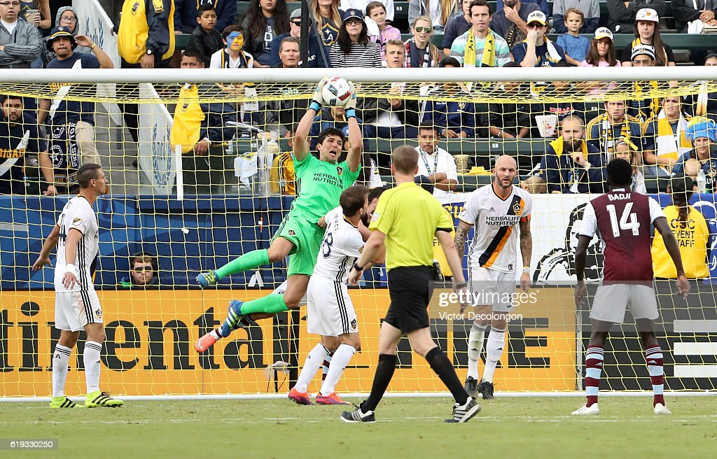 GoalkeeperBrian Rowe #12 of Los Angeles Galaxy makes a save during the second half of leg one of the Audi 2016 MLS Cup Playoff Western Conference Semfinal between the Colorado Rapids and the Los Angeles Galaxy at StubHub Center on October 30, 2016 in Carson, California. The Galaxy defeated the Rapids 1-0 in leg one of the two game playoff Western Conference Semifinal series.