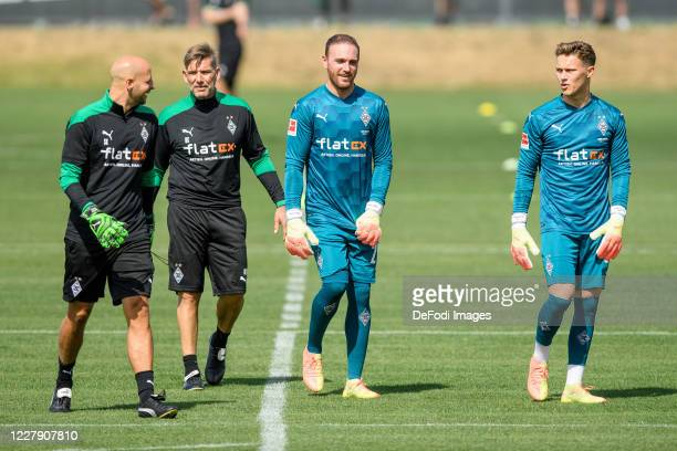 Goalkeeper-head coach Steffen Krebs of Borussia Moenchengladbach, goalkeeper-head coach Uwe Kamps of Borussia Moenchengladbach, goalkeeper Tobias...