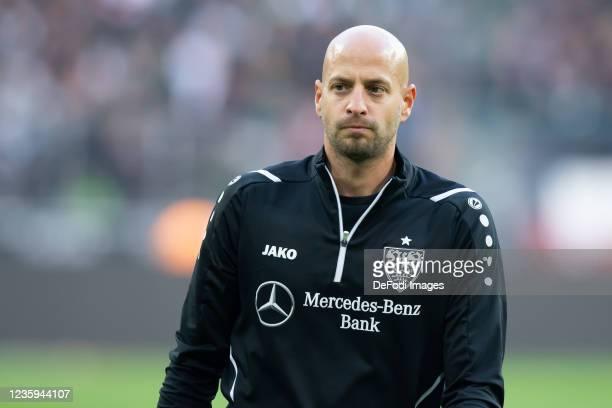Goalkeeper-head coach Steffen Krebs of VfB Stuttgart looks on prior to the Bundesliga match between Borussia Mönchengladbach and VfB Stuttgart at...