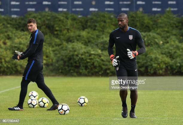Goalkeepers Bill Hamid and Alex Bono of the US Men's National Soccer Team train at StubHub Center on January 19 2018 in Carson California