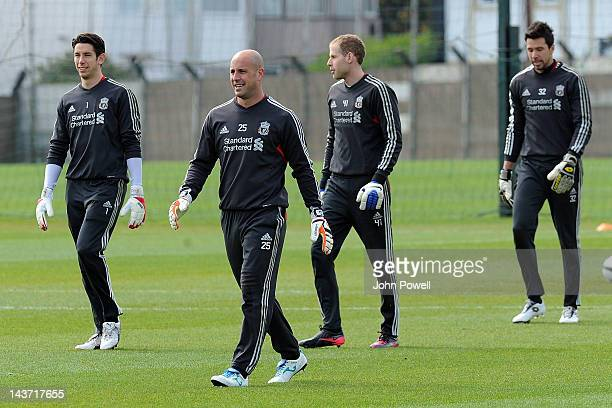 Goalkeepers Brad Jones Pepe Reina Peter Gulacsi and Alexander Doni of Liverpool during a training session prior to the FA Cup Final at Melwood...