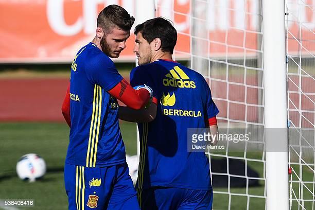 Goalkeepers David de Gea and Iker Casillas of Spain of Spain during a training session at La Ciudad del Futbol de las Rozas on June 6 2016 in Madrid...