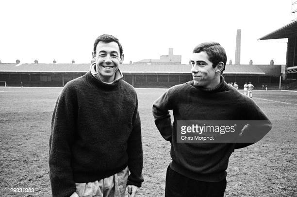 Goalkeepers Gordon Banks and Peter Shilton during training with the Leicester City squad at the club's Filbert Street ground, 1965.