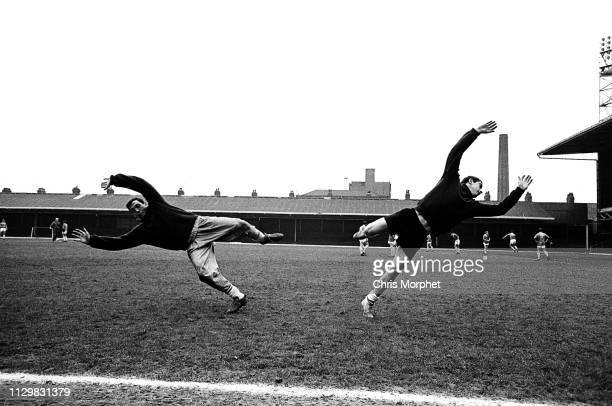 Goalkeepers Gordon Banks and Peter Shilton training with the Leicester City squad at the club's Filbert Street ground 1965