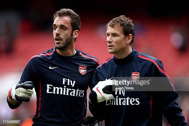 Goalkeepers Jens Lehmann and Manuel Almunia of Arsenal warm up prior to the Barclays Premier League match between Arsenal and Blackburn Rovers at the...
