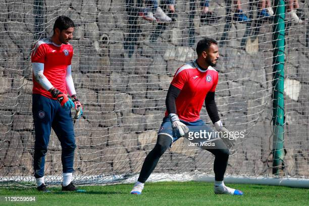 Goalkeepers Jesus Corona and Guillermo Allison look on during a Cruz Azul training session at La Noria on February 12 2019 in Mexico City Mexico