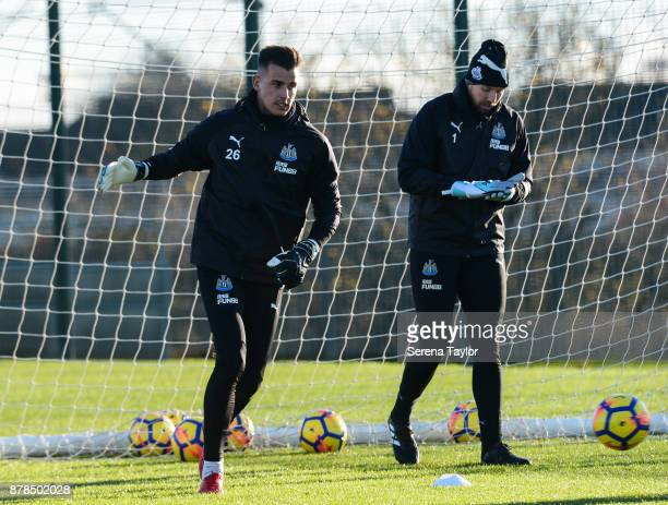 Goalkeepers Karl Darlow and Rob Elliot warm up during the Newcastle United Training Session at the Newcastle United Training Centre on November 24 in...