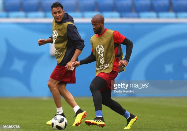Goalkeepers Keylor Navas and Patrick Pemberton in action during a Costa Rica training session during the FIFA World Cup 2018 at Krestovsky Stadium on...