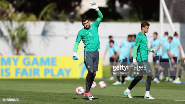 Goalkeepers Maty Ryan and Mitch Langerak warm up during an Australia training session ahead of the FIFA Confederations Cup Russia 2017 on June 17,...