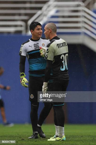 Goalkeepers Miguel Jimenez and Rodolfo Cota during a training session prior to a friendly match between Chivas and Santos at Cotton Bowl Stadium on...