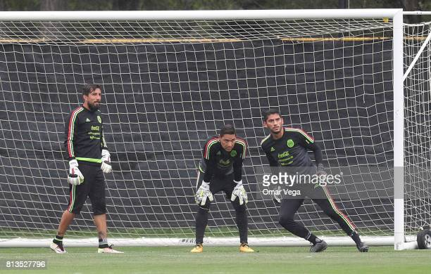 Goalkeepers Moises Muñoz Jesus Corona and Miguel Fraga in action during the Mexico National Team training session ahead it's match against Jamaica at...