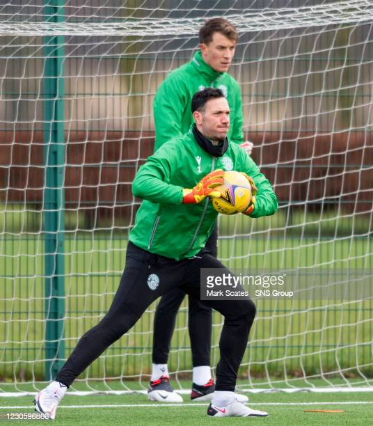 Goalkeepers Ofir Marciano and Matt Macey during a Hibernian training session at the Hibernian Training Centre on January 15 in Edinburgh, Scotland.