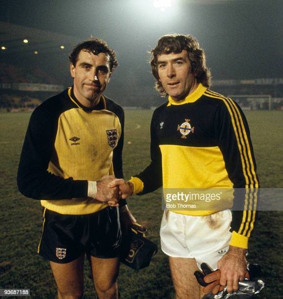 Goalkeepers Peter Shilton of England and Pat Jennings of Northern Ireland after the Northern Ireland v England World Cup Qualifying match played at...