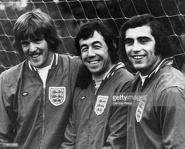 Goalkeepers Phil Parkes Gordon Banks and Peter Shilton training with the England squad at Roehampton 10th October 1972 The keepers are from QPR Stoke...