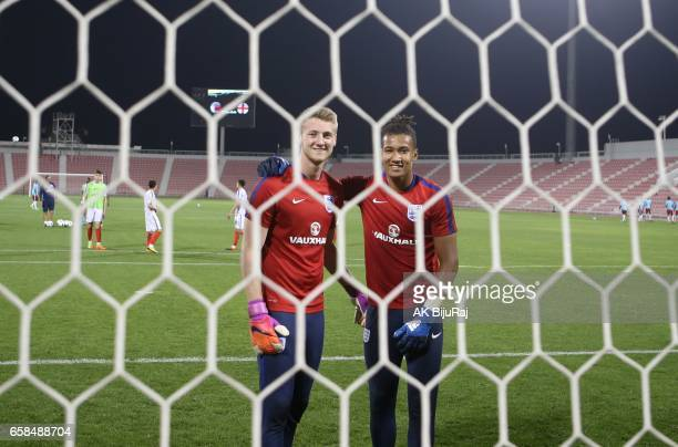 Goalkeepers Ryan Schofiels and Ellery Balcombe of England pose for a photo during warm up before the U18 International friendly match between Qatar...