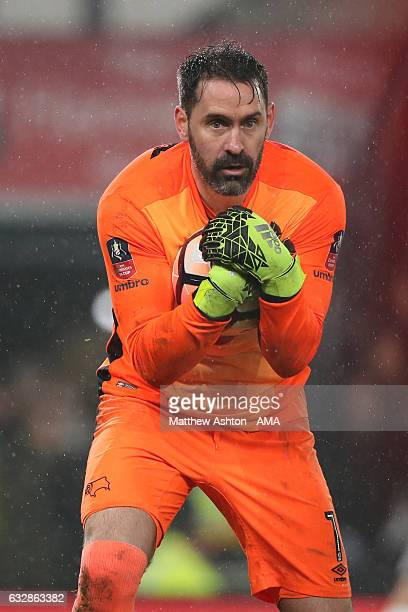 Goalkeepers Scott Carson of Derby County during the Emirates FA Cup Fourth Round match between Derby County and Leicester City at iPro Stadium on...