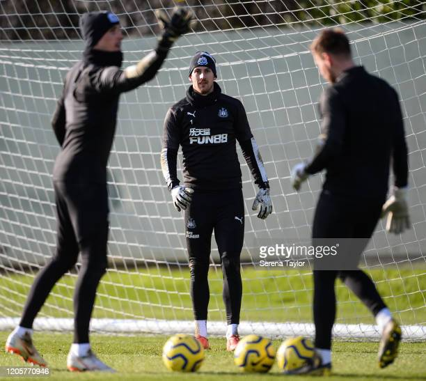 Goalkeepers seen LR Karl Darlow Martin Dúbravka and Rob Elliot during the Newcastle United Training Session at the Newcastle United Training Centre...