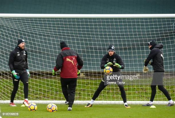 Goalkeepers seen LR Rob Elliot Martin Dubravka and Karl Darlow train with Newcastle United Goalkeeping Coach Simon Smith during the Newcastle United...