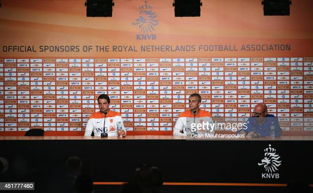 Goalkeepers Tim Krul and Jasper Cillessen speak to the media during the Netherlands press conference at the 2014 FIFA World Cup Brazil held at the...