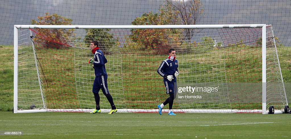 Goalkeepers Vito Mannone (R) and Costel Pantillimon (L) during a Sunderland AFC Training Session at The Academy of Light on October 31, 2014 in Sunderland, England.