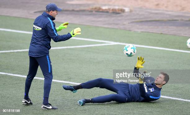 goalkeepertrainer Zsolt Petry and Rune Almenning Jarstein of Hertha BSC before the test match between Hertha BSC and dem 1 FC Koeln on january 6 2018...